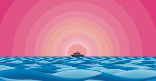 Pink setting sea liner Royalty Free Stock Photography