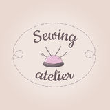 Pink sewing logo vector template, needle, stitch. Sewing logo vector template, needle, stitch. Cute vintage design element for tailor shop, studio, atelier Stock Images