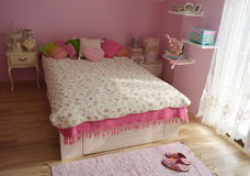 Shaby chic pink room. Pink shabby chic vintage room for girls Royalty Free Stock Images