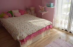 Shaby chic room. Pink shabby chic vintage room for girls Stock Photo