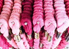 Pink shade. Shade of pink floss thread 100% cotton France cross-stitch embroidery harberdasery Stock Photography