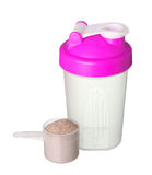 Pink shaker and cup of protein powder for girl isolated Royalty Free Stock Photo