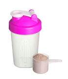 Pink shaker and cup of protein powder for girl isolated on white Royalty Free Stock Photo