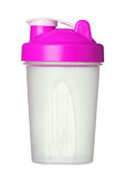 Pink shaker for protein powder for girl isolated on white Royalty Free Stock Photo