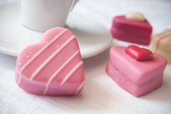 Free Pink Shaped Heart Pastry And Cup Of Coffe On White Na Stock Photos - 108735953
