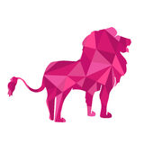 Pink shapes abstract lion. Animal isolated Stock Images