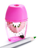 Pink sharpener and pencil Stock Image
