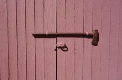 Pink Shed Door Maul Lock Royalty Free Stock Photo