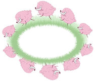 Pink sheep jumping over the field Stock Photo