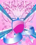 Pink Shield And Blue Ribbon. Pink Stars, Shield And Blue Rays, Ribbon Royalty Free Stock Images