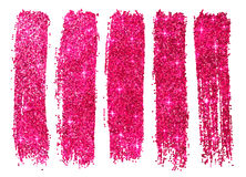 Pink shining glitter polish samples isolated on Royalty Free Stock Image
