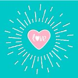 Pink shining heart and word love inside. Sun shining effect Flat design Royalty Free Stock Photography
