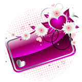 Pink shiny banner. Vector illustration of an abstract pink shiny banner with heart and flowers Royalty Free Stock Photography
