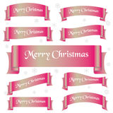 Pink shiny color merry christmas slogan curved ribbon banners eps10 Royalty Free Stock Image