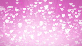 Pink Shiny Hearts Light Valentines Day Background. stock video