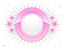 Pink shiny lace crest with stars Stock Photography