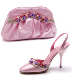 Pink shoe and bag Stock Photos