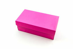 Pink shoe box on white background with clipping path. Stock Image