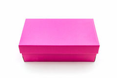 Pink shoe box on white background with clipping path. Stock Photography