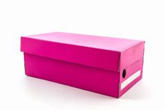 Pink shoe box on white background with clipping path. Royalty Free Stock Photo