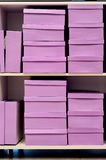 Pink shoe boxes Stock Photo