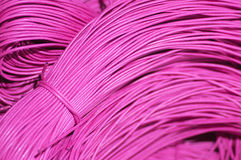 Pink shoe laces or cords. Stock Photo