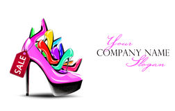 Pink shoe with sale tag filled with colourful shoes Stock Photos