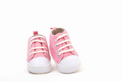 Pink shoes. Sneakers for a little girl stock image