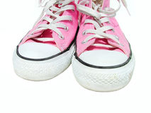 Pink shoes. Dirty pink shoes stock image
