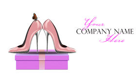 Pink shoes with butterfly on gift box Stock Illustration