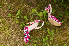 Pink shoes on the grass Stock Image