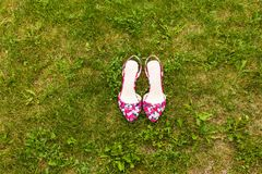 Pink shoes on the grass Stock Photos