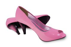 Pink shoes over white. Royalty Free Stock Photo
