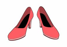 Pink shoes. Vector illustration of fashionable shoes, EPS 8 file Stock Photography