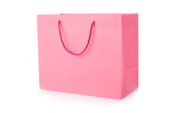 Pink shopping bag. Isolated on a white background Royalty Free Stock Photography