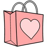 Pink Shopping Bag with Heart Stock Photo
