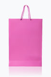 Pink shopping bag, isolated with clipping path on white backgrou Royalty Free Stock Images