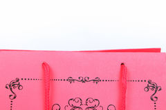Pink shopping bag with swirl design closeup Stock Photography