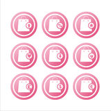 Pink shopping bags signs Stock Image