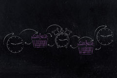 Pink shopping baskets next to clocks and alarms, flash promotion Royalty Free Stock Images
