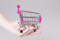 Pink shopping cart in woman hand Royalty Free Stock Photography