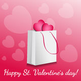 Pink  shopping discount card. Pink happy valentine`s day shopping discount card Stock Photo