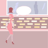 Pink shopping girl with speech bubble Royalty Free Stock Image