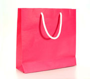 Pink shopping paper bag Stock Images