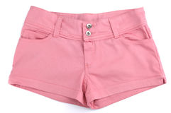 Pink Shorts. Pink womens shorts isolated on white background Stock Photo