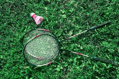 A pink shuttlecock and a badminton racket on the green lawn grass. A pink shuttlecock and a badminton racket lie on the green lawn grass stock image