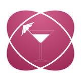 Pink sign martini glass. Vector icon Stock Photos