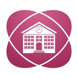 Pink sign school building. Vector icon Royalty Free Stock Photo