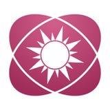 Pink sign sun. Vector icon Royalty Free Stock Photos