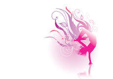 Pink silhouette dancer Stock Photos